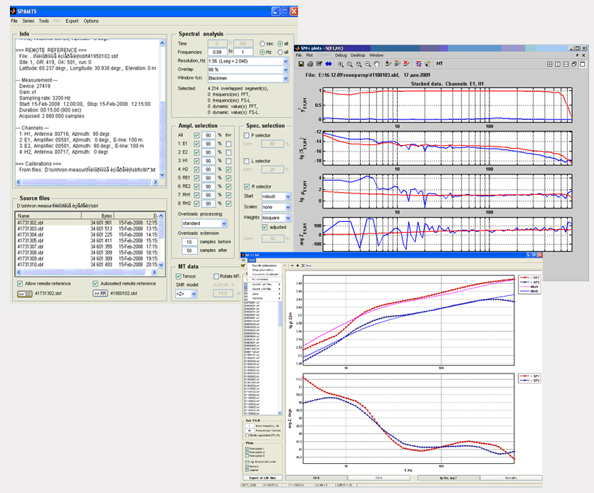 Image of the THE SM+ PROGRAM screenshot, ACF-4M DATA PROCESSING AND INTERPRETATION SOFTWARE TOOLS