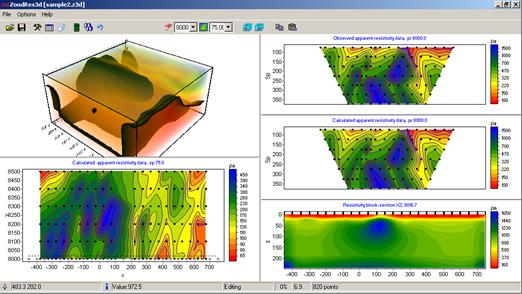 Screenshot of the ZondRes3D Software