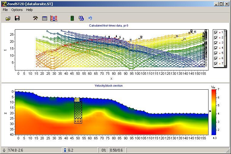 Screenshot of the ZondSt2D Software