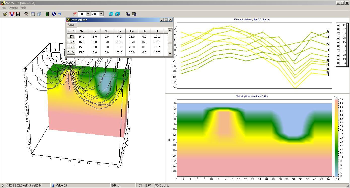 Screenshot of the ZondST3D Software
